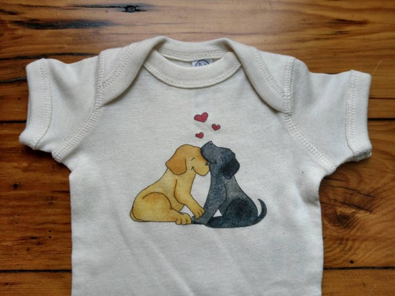 Loveable Lab Infant Cotton Onesie, Black and Yellow Lab Baby Shirt, Dog Lover Baby Gift, Long and Short Sleeve Options
