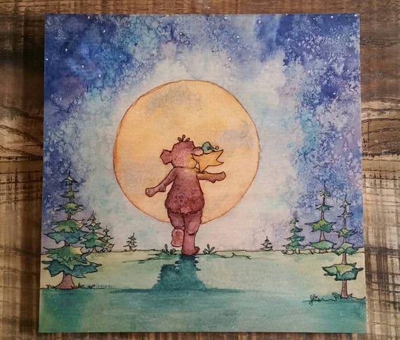 Bear and Star 12x12 Wood Print