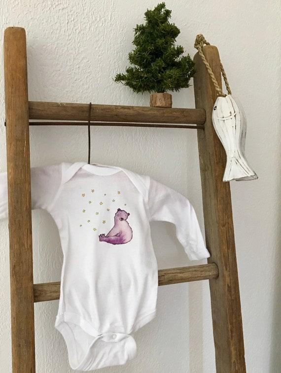 Snow Bear Long Sleeve Cotton Onesie