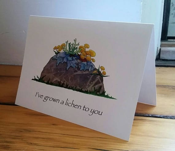 I've Grown a Lichen to You 5X7 Greeting Card, Pun Gift Card, Lichen Greeting Card, Valentine Card