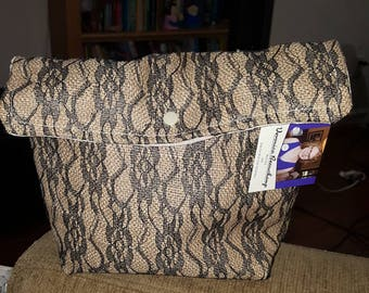 Lace and Burlap Giant Pouch