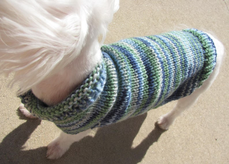 a935335e2bbf Small Dog Multi-Color Blue/Green Sweater Small Dog Apparel | Etsy