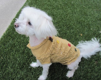 Small Dog Autumn Leaves Sweater,  Small Dog Light Gold Colored Autumn Sweater, Small Dog Autumn Leaves Falling Sweater,  Fall dog sweater