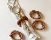 Handmade Stoneware Ceramic Knot, Ceramic Napkin Ring - Brick