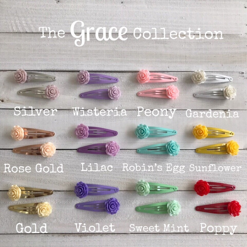The Grace Collection \u2022 Rose Flower Snap Clip Hair Barrettes in Purple Trio
