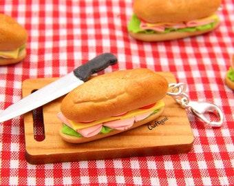 Sandwich charm / miniature food / polymer clay jewelry