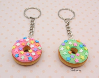 Donut keychain with star sprinkles (2 colors) / miniature food / polymer clay jewelry