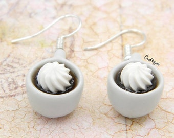Coffee cup earrings with whipped cream / miniature food / polymer clay jewelry