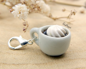 Coffee cup charm with whipped cream / miniature food / polymer clay jewelry