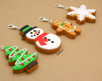 Clay Christmas cookie charms-keychains-ornaments / miniature food / polymer clay jewelry