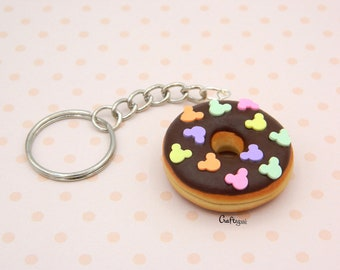 Donut keychain with Mickey Mouse sprinkles / miniature food / polymer clay jewelry