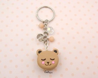Macaron bear keychain with crystal beads / miniature food / polymer clay jewelry
