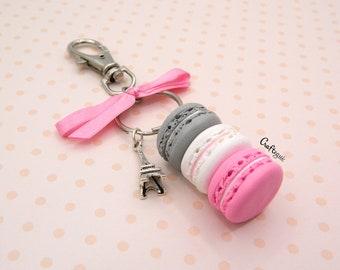 Macaron keychain with Eiffel tower charm and bow / miniature food / polymer clay jewelry