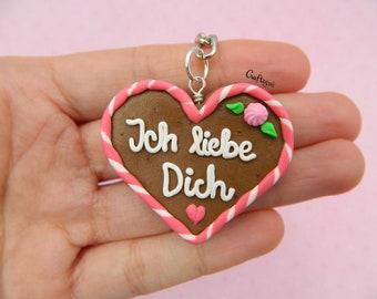 Lebkuchenherz (gingerbread heart) charm-keychain / miniature food / polymer clay jewelry