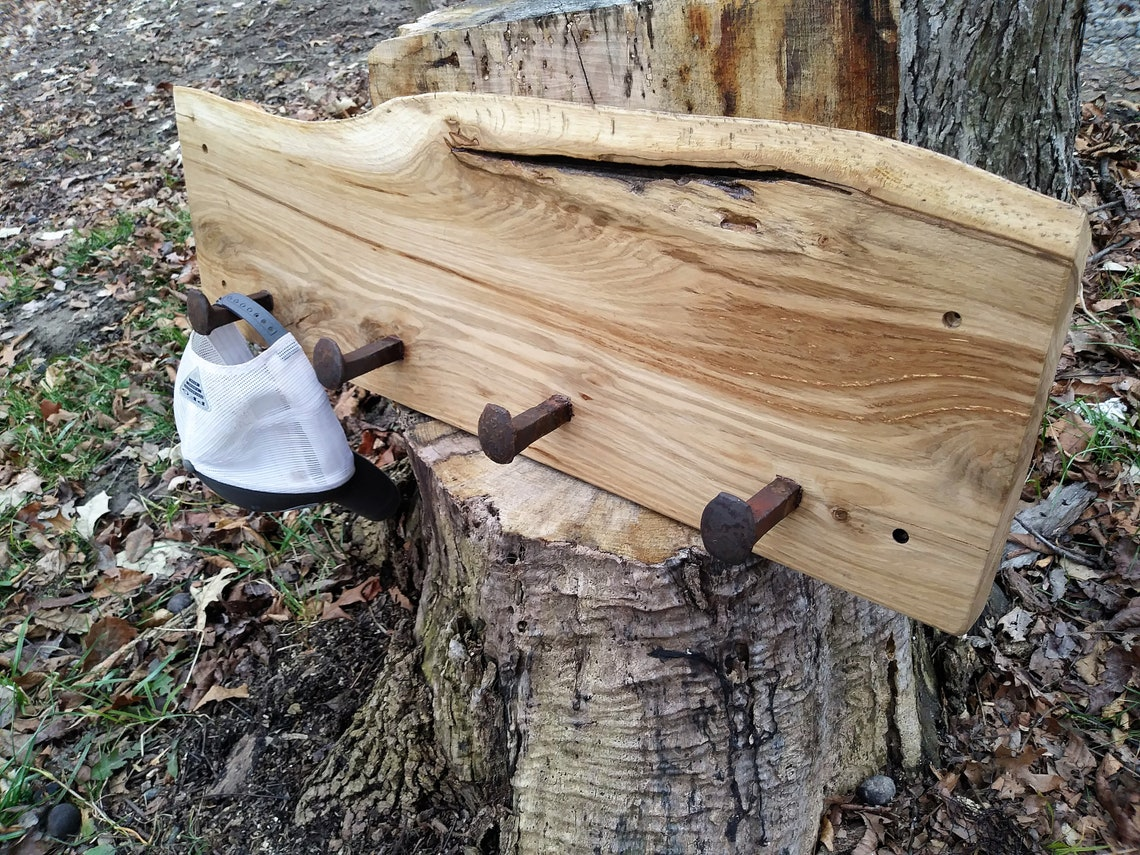 One of a kind coat and hat rack..rustic oak live edge coat hanger with vintage railroad spikes..perfect wedding, housewarming, newlywed gift
