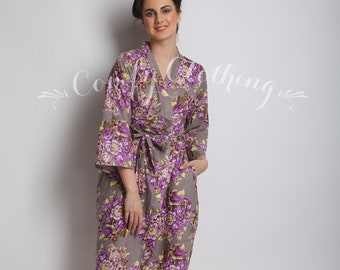 aa6816ed705 Long robe for tall women white robe with gray floral white