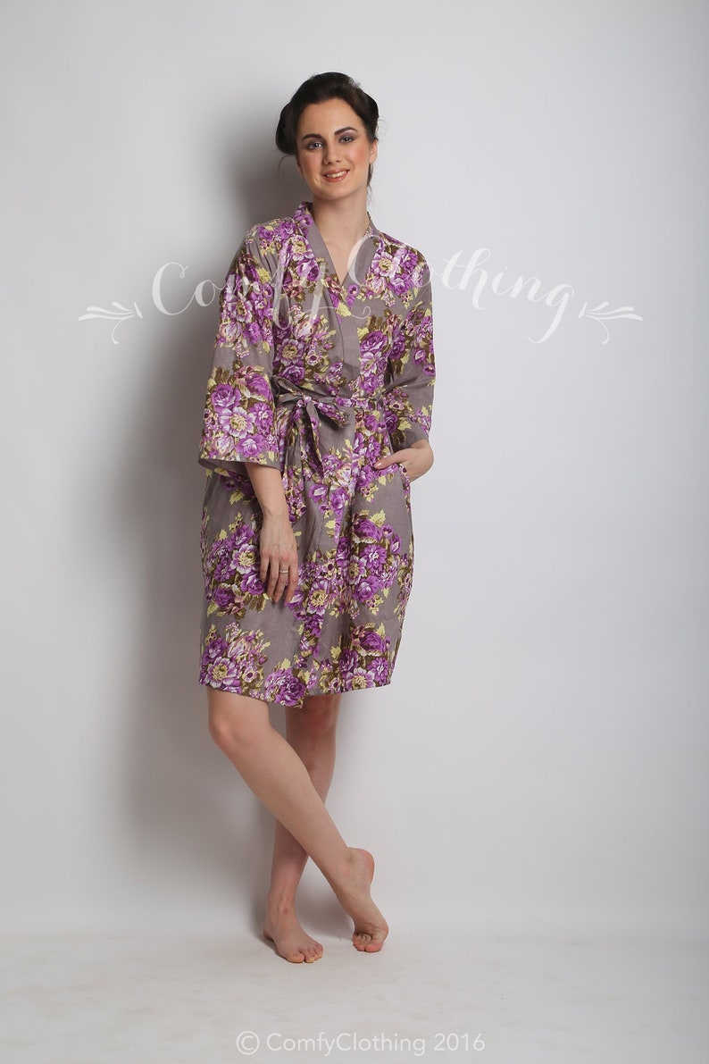 mauve floral kimono bride bride robe plus size robes Gray purple floral robe robes with names bridesmaids robes Christmas wedding gift