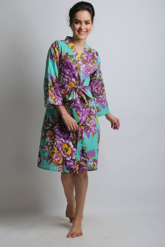 SALE Mint purple floral bridesmaids robes cotton kimono  77e60ca81