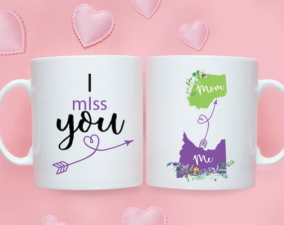 Mothers Day gift Long distance Mom mug, Long distance mug, Long distance gift, Gift for mom, Custom long distance mug, States mug