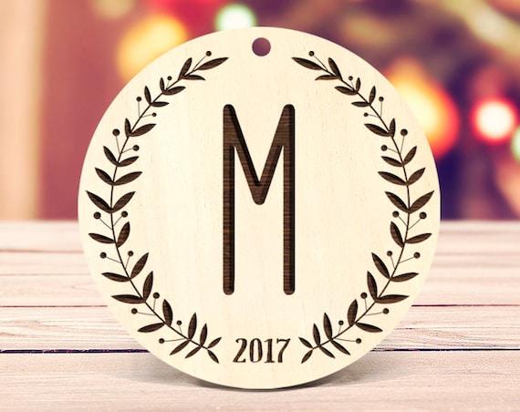 Monogram Christmas Ornament, Rustic Christmas Ornament, Farmhouse Ornament, Personalized ornaments Wood Ornament Personalized Gifts 16