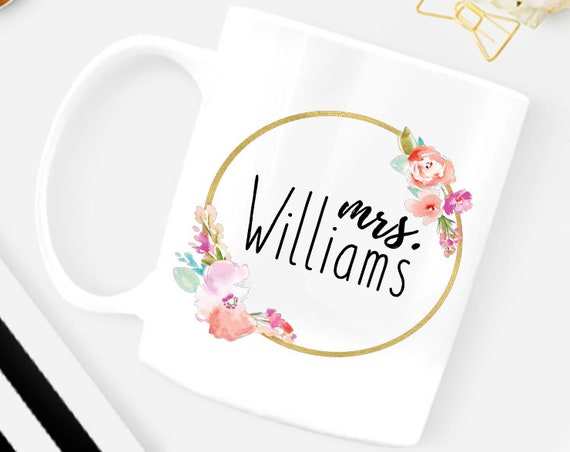Mrs Wedding Mug, Custom Engagement Mrs Mug, Mrs Wedding Mug, Wedding Gift Idea For Bride, Personalized Mrs Mug, Engagement Mug
