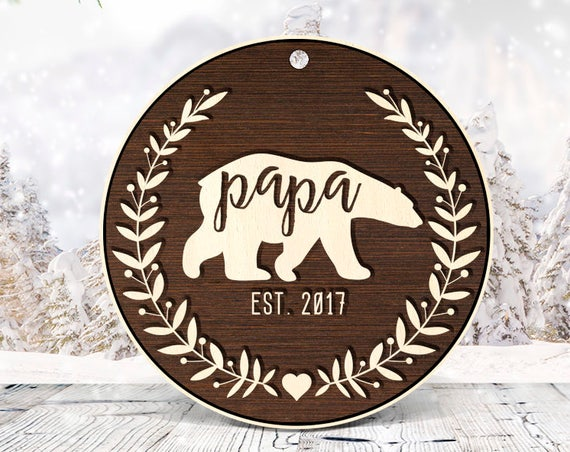 Papa Ornament, Grandpa Ornament, Christmas Ornament, Gift for Grandpa, Gift for Papa , Pregnancy Reveal to Grandpa, Reveal to Papa 42