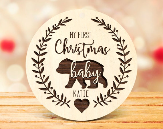 My First Christmas Ornament Christmas Tree Ornament Baby Christmas Ornament, Solid Wood custom baby ornament Parents Christmas gift  9b