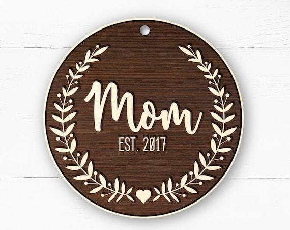Personalized Mom Ornament, Custom Ornament, New Mom Ornament, Mom Christmas Gift, Pregnancy Announcement Ornament, Mom Xmas Ornament 67