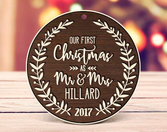 Our First Christmas Ornament Personalized Christmas Ornament Mr Mrs Last Name Custom Ornament Engraved ornament Rustic Ornament 2