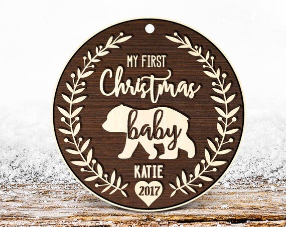 Rustic wood My First Christmas Ornament Christmas Tree Ornament Personalized Baby Christmas Ornament, Solid Wood custom baby ornament 9b