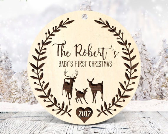 Rustic wood Gift for Baby First Christmas Ornament Wood Engraved, Personalized First Christmas Ornament, Baby's 1st Christmas Ornament 50