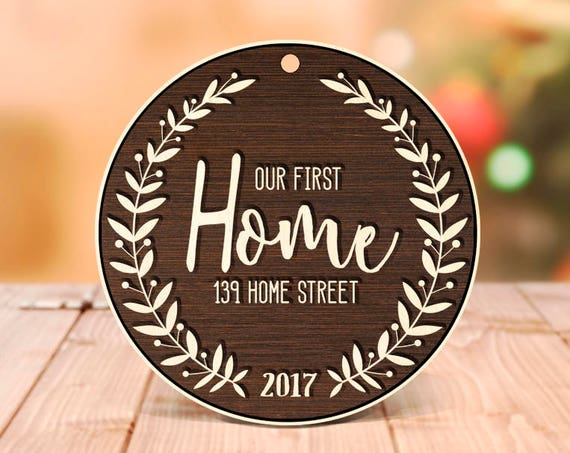 Christmas decorations personalized giftOur First Home Christmas Ornaments Handmade Personalized Wood Ornament Housewarming Holiday Gift 11