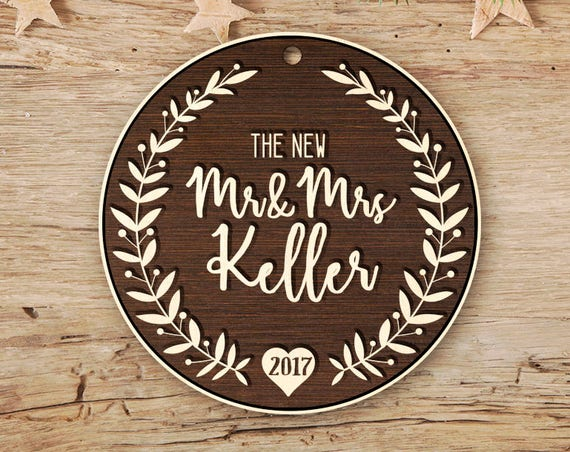Personalized gift Mr & Mrs Ornament Our First Christmas Married Ornament Christmas Ornament Wedding Ornament Mr Mrs Christmas Ornament 81