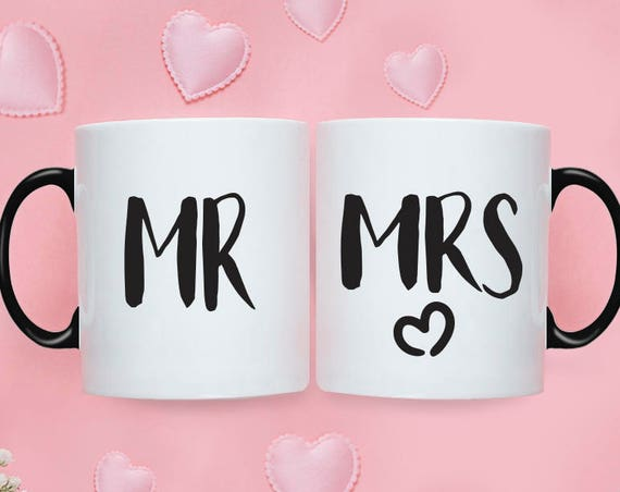 Mr Mrs MUG SET / Mr and Mrs Gifts / Wedding / Wedding Gift Set / Wedding Set for Mr and Mrs Wedding Gift  Bride To Be Couple Gift 214O