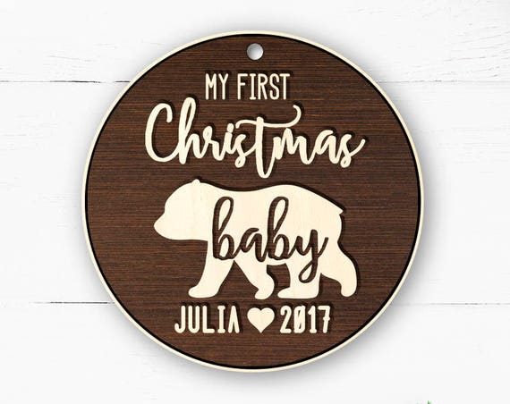 Baby First Christmas Ornament Bear Christmas Tree Ornament First Christmas Wood Family Ornament Christmas Ornaments for Baby Custom 9
