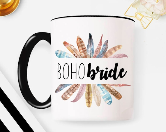 Boho Bride mug Boho coffee mug Feathers mug Bride mug Custom coffee mug Personalized mug Tea Mug Wedding Planning Mug Bride Gift Mug