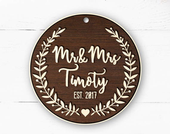 Rustic wood personalized giftWood Mr Mrs Christmas Ornament Gift Married First Christmas Wedding Ornament Personalized Christmas Ornaments 7