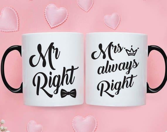 Set of Mr Right Mrs Always Right Coffee Mugs | Ceramic Coffee Mugs | Gift for Wedding Couple | Mug Gift Set | Sublimation Mug | Mug Set 215O