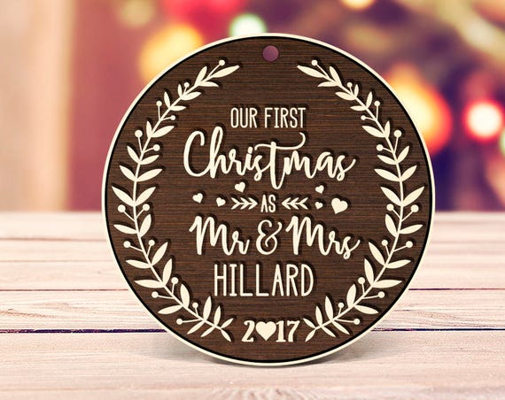 Rustic wood First Christmas as Mr & Mrs Ornament Our First Christmas Married Ornament Our First Christmas Ornament Wedding Ornament Wood 2b