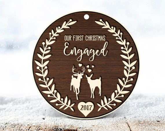 Engagement Gift for Couple Engagement Ornament Engagement Gifts Best Friend Engagement Gifts Her First Christmas Engaged Ornament Wood 51
