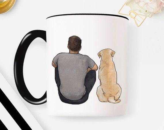 Custom Dog Mug, Pet Portrait Mug, Personalized Dog Lover Gifts, Customized Gift For Dog Dad, Custom Dog Photo Art, Pet Loss Gift Memorial