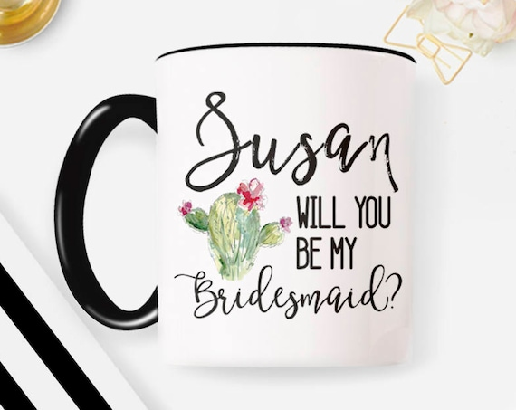 Personalized Name Bridesmaid Mug, Custom Name Gift, Bridesmaid Gift ideas 50W