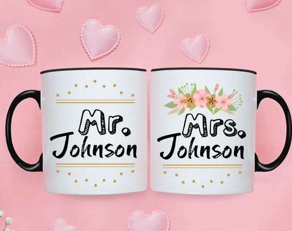 Personalized Wedding Gift for Couple Wedding Shower Gift Wedding Gift for Bride Couples Mug Set Couples Gift Anniversary Gifts for Men Year