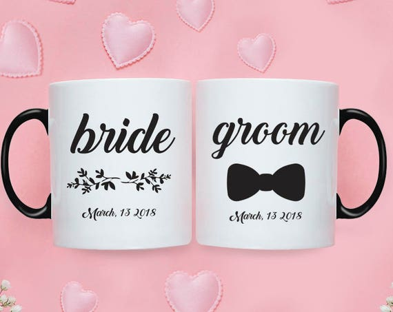 Bride Groom MUG SET / Bride Groom Gifts / Wedding / Wedding Gift Set / Wedding Set for Mr and Mrs Wedding Gift  Bride To Be Couple Gift 221O