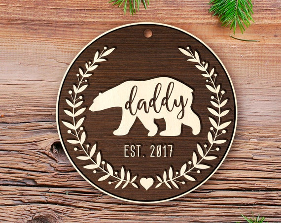 Rustic wood New Daddy Gift New Dad Gift Pregnancy Announcement New Daddy Ornament Daddy Ornament Pregnancy Announcement Daddy's First 37