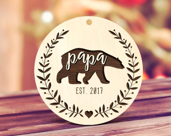 New Papa Ornament Gift Pregnancy Announcement New Papa Bear Ornament Dad Ornament Pregnancy Announcement Daddy's First Baby Shower Gift 42