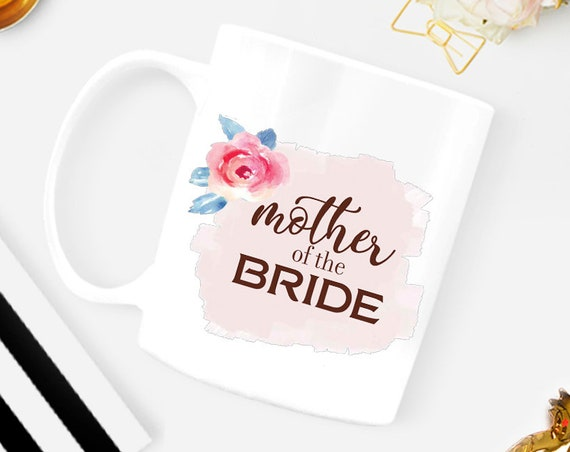 Custom Mother of the Bride mug with date, pink wedding gift, personalized wedding gift, wedding party, mother in law