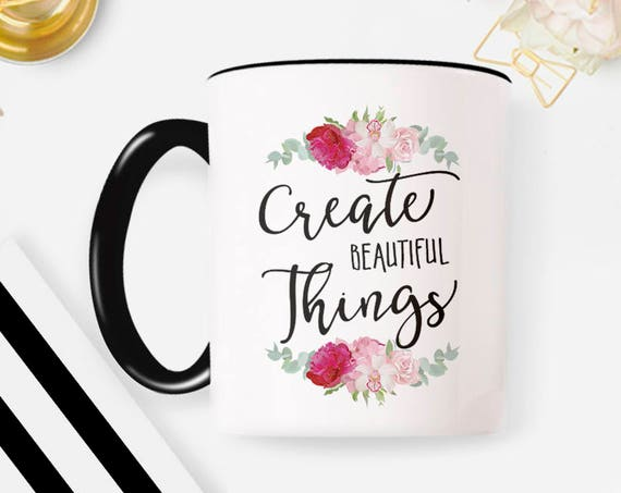Create, Creative Mug, Creative Gift, Freelancer Mug, Artist Gift, Artist Mug, Lettered Mug, Gift for Her, Coffee Mug, Cute Mug 45MM