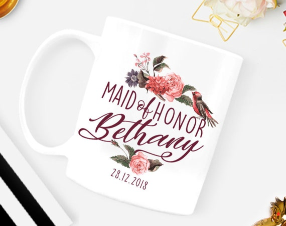 Maid of Honor Mug Personalized Maid of Honor Gift Custom Personalized Wedding Mug Bridesmaid gift Bridal shower gift