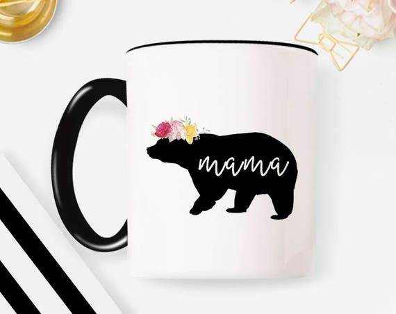 Baby Shower Gift Mama Bear Floral Mama bear mug Mama bear established Mother's Day gift Mother's Day New mom coffee mug mug coffee cup 34MM